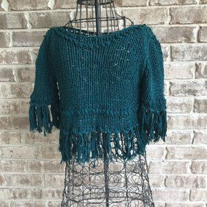Free People Cropped Fringe Sweater Teal Boho